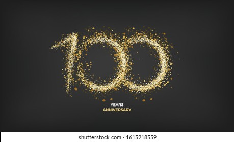 100 years anniversary vector design. Black golden background with gold sparkler light festive decoration, web, gift card or print banner layout template
