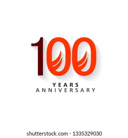 100 Years Anniversary Vector Template Design Illustration, flat design with shadows