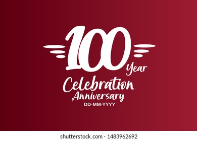 100 years anniversary white colors on red color with triple small stripes on left and right for anniversary, wedding, logo - vector