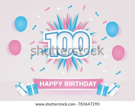 100 Years Colorful Happy Birthday Card Logotype Using Paper Cut Style