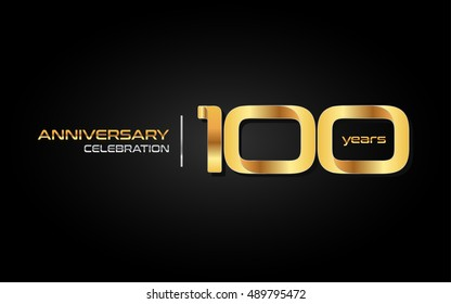 100 years gold anniversary celebration logo, isolated on dark background