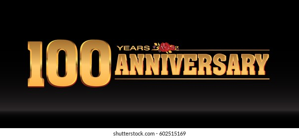 100 Years gold anniversary celebration logo, anniversary for celebration, birthday, wedding and party
