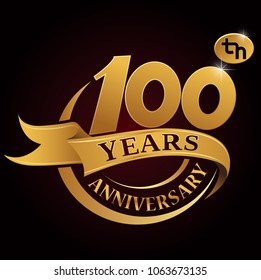 100 years golden anniversary logo celebration with golden ring and ribbon.