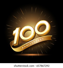 100 years golden anniversary logo celebration with firework and ribbon