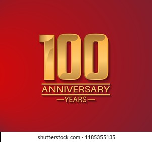 100 years golden shiny anniversary simple design with red background. Vector template for company celebration event, greeting card and invitation card