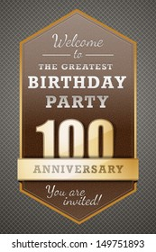 100 Years  Happy Birthday Party Card