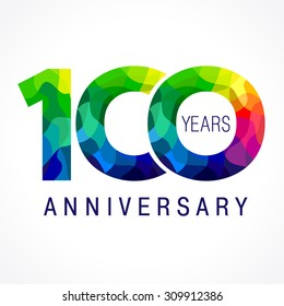 100 years old celebrating colored logo. Anniversary year of 100 th vector template numbers. Happy birthday greetings celebrates. Stained-glass digits of ages. Mosaic pattern figures in various colors.