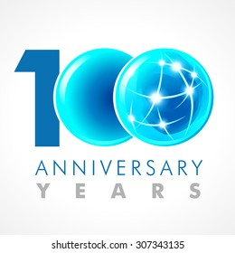 100 years old celebrating connecting logo. Anniversary year of 100 th vector template with volume cosmos 0. Greetings ages celebrates. Technologies, communicating sign with lighting flashes and sparks