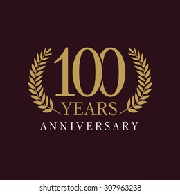 100 years old luxurious logo. Anniversary year of 100 th vector gold colored template framed of palms. Greetings ages celebrates. Celebrating tradition branches. 1 st place symbol of victory and win.