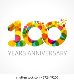100 years old multicolored logotype. Anniversary 10th greetings, congratulations pattern template. Isolated shape numbers. Abstract colored digits 100%, percent % off, coin, first 1st place emblem.
