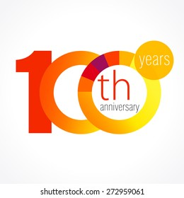 100 years old round logo. Anniversary year of 90 th vector chart template medal. Birthday greetings circle celebrates. Celebrating numbers. Colorful digits. Figures of ages, cut sections. Letter O.
