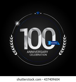 100 Years Silver anniversary logo, low poly design number