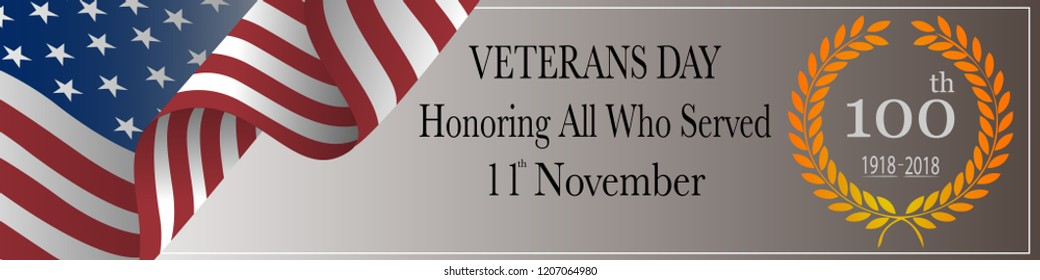 100 years of Veterans Day celebration. Honoring all who served. Greeting card. Banner.