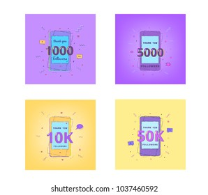 1000, 5000, 10K, 50K Followers thank you cards. Template for social media post. Glitch chromatic aberration style.  Set of Subscribers banners. Vector illustration.
