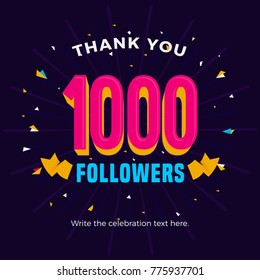 1000 followers card banner template for celebrating many followers in online social media networks.