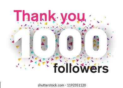 1000 followers card for celebrating many followers in social networks.