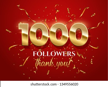 1000 followers celebration vector banner with text. Social media achievement poster. 1k followers thank you lettering. Golden sparkling confetti ribbons. Shiny gratitude text on red gradient backdrop