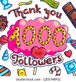1000 followers greeting candy shop post template. 1k followers thank you cookie hand letters with candies, lollipops. Bakery lettering for social media banner. Internet sweet store color illustration
