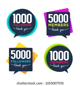 1000 followers and members , thank you frames, bubbles and banners, with lettering composition