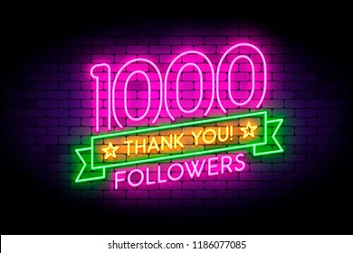 1000 followers neon sign on the wall. Realistic neon sign with number of followers on the ribbon with stars. Vector illustration for celebrating a large number of subscribers in social networks.
