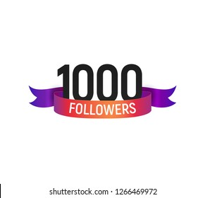 1000 followers number with color bright ribbon isolated vector icon