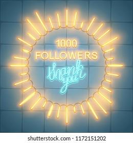 1000 followers, social media banner, congratulation, celebration, vector illustration