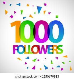 1000 followers social media banner flat vector design template