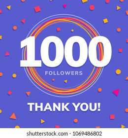 1000 followers, social sites post, greeting card vector illustration