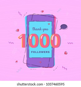 1000 Followers thank you card with phone Template for social media post. Glitch chromatic aberration style. 1K subscribers vivid banner. Vector illustration.
