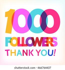 """1000 followers thank you!"" card for your followers milestone. Vector card."