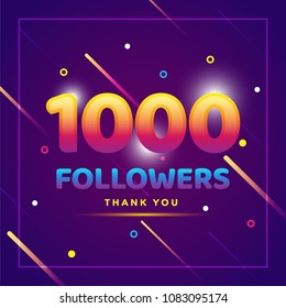 1000 followers thank you colorful background and glitters. Illustration for Social Network friends, followers, Web user Thank you celebrate of subscribers or followers and likes