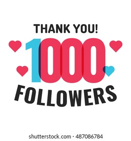 1000 followers, thank you with hearts. Flat vector icon design illustration on white background. Can be used business company for social media.
