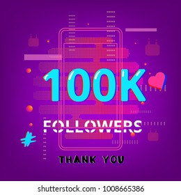 1000 Followers thank you post on bright abstract  background with random items. Glitch chromatic aberration effect. Banner of 1K subscribers. Template for social media post. Vector illustration.