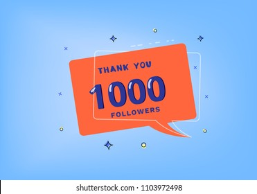 1000 followers thank you post with decoration. 1K subscribers banner with speech bubble. Greeting card for social networks.  Vector illustration.