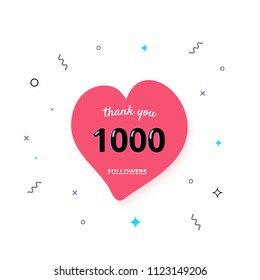 1000 followers thank you post with heart shape and decoration isolated on white background. 1K subscribers celebration banner. Greeting card for social networks. Vector illustration.