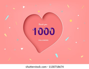 1000 followers thank you post with heart shape and decoration. 1k subscribers celebration banner. Greeting card for social networks. Vector illustration.
