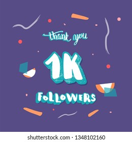 1000 followers thank you social media flat template. Banner for internet networks.  1K subscribers congratulation post. Vector illustration.