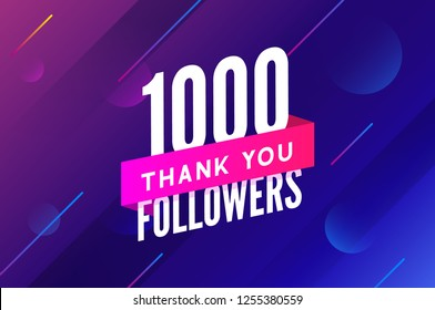 1000 followers vector. Greeting social card thank you followers. Congratulations follower design template.