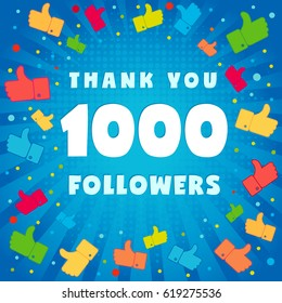 1000 followers vector illustration with thank you on pattern of colored likes. 1k thank you followers