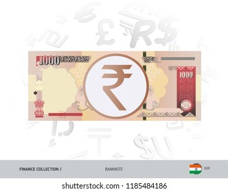 1000 Indian Rupee Banknote. Flat style vector illustration isolated on currency background. Finance concept.