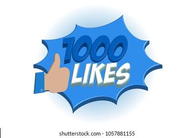 1000 likes 3D pop art vector graphics