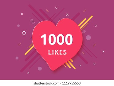 1000 likes  banner with heart shape. Celebration 1k like card for social networks. Template for social media post. Vector illustration.