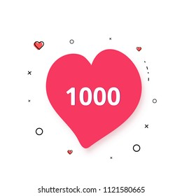 1000 likes  banner with heart shape isolated on white background. Celebration 1k like card for social networks. Template for social media post. Vector illustration.