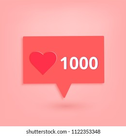 1000 likes  banner with heart shape and speech bubble. Celebration 1k like card for social networks. Template for social media post. Vector illustration.