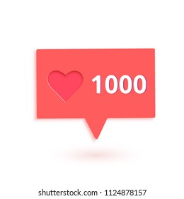 1000 likes  banner with heart shape isolated. Celebration 1k like card for social networks. Template for social media post. Vector illustration.