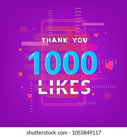 1000 likes  thank you banner. Post for social media. Vector llustration.