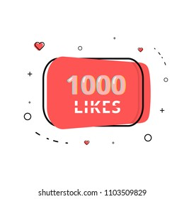1000 likes thank you post. Celebration 1k like card for social networks. Template for social media post. Vector illustration.