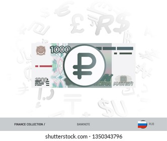 1000 Russian Ruble banknote. Flat style vector illustration isolated on currency background. Finance concept.