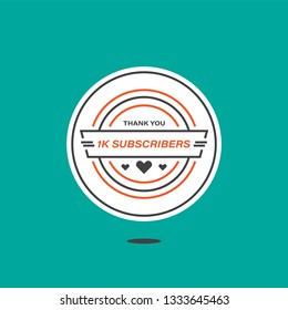 1000 subscribers 1k subscribers celebration thanks card social media content vector isolated modern design style vintage