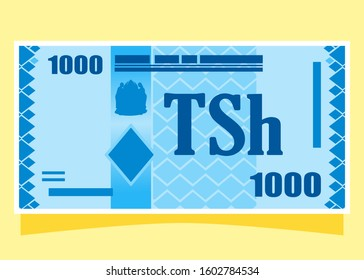 1000 Tanzanian Shilling TZS banknotes paper money vector icon logo illustration and design. Tanzania business, payment and finance element. Can be used for web, mobile, infographic, and print.